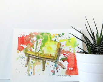 Abstract Yellow Chair Watercolor Original Illustration