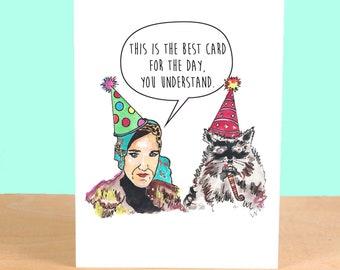 Grey Gardens Birthday Card Little Edie Beale Staunch Greeting Card Illustration Edith Bouvier Cute Hamptons Vintage American Jackie O