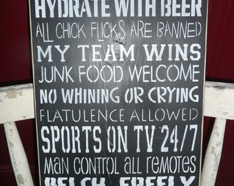 MAN CAVE RULES/ Hand Painted/  Wood Sign/ Typography/ Wall Decor/ Marias Makery etc