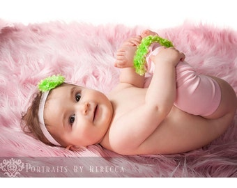 Pink and Lime Baby Leg Warmers and Headband