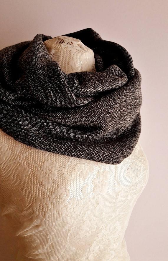 Handmade Wool LOOP, Double Face Wool Unisex Loop, Grey/Black Unisex Scarf/Loop