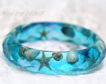 Terrarium bracelet inspirational Resin bracelet Seashell Summer bracelet Mermaid jewelry Turquoise bracelet starfish bracelet seashells
