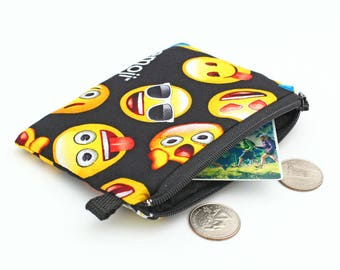 Emoticon Wallet, Kids Coin Purse, Cute Zipper Pouch, Small Padded Coin Wallet, Mini Zip Wallet, Card Pouch - emoji yellow black