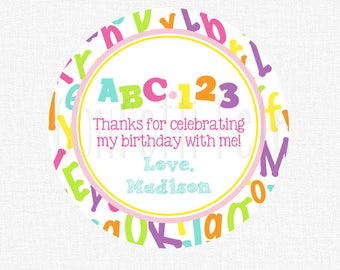 ABC123 Favor Tag, Alphabet Party Tag, Numbers and Letters Tag, Girl Birthday Party Favors, Personalized
