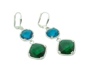 Turquoise and Emerald Crystal Gems Silver Earrings, Blue Green and Silver Bridal Drop Earrings, May and December Birthstone Earrings Jewelry