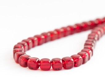 Garnet Beads, Pressed Czech Glass Cube Beads, Red Marsala Square Beads, 5mm x 25pc (0017)