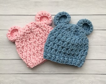 Bear hat, baby bear hat, crochet bear hat, pink bear hat, blue bear hat, newborn photo prop, newborn bear hat, teddy bear hat, bear hat