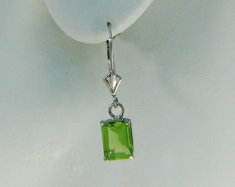 14K White Gold Peridot Gemstone Dangle Drop Earrings, Green Gemstone Dangle Leverbacks, Rectangle Peridot Drop Earrings LV8x60CTPERIDOT14KW