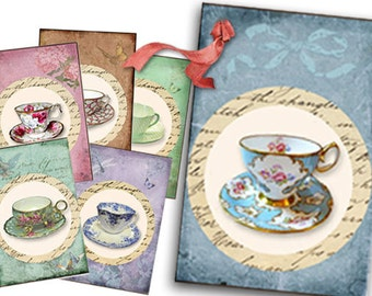 Vintage Tea Tags digital Collage Sheet, Shabby Chic tea cups, tea party gift tags, tea decor, bridal shower tea, printables, mothers day