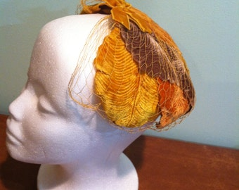 Vintage Women's Hat Orange/Yellow/Brown