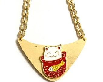 Maneki-neko Japanese lucky charm, Goldfish, Talisman, Good luck, Cameo, Welcoming cat, Lucky cat, Beckoning cat, Fortune cat, Gold necklace