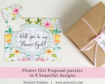 Will You Be my Flower Girl puzzle, bridal party proposal, invitation, our flower girl card, watercolor flowers, pink yellow orange flowers