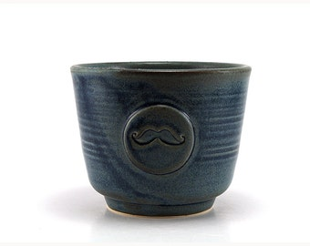 Shaving Bowl with a Mustache in Blue with optional Shave Brush