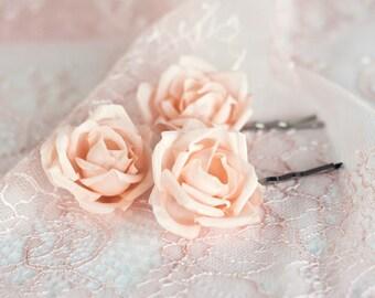 71 Hair flower peach Bridal hair flower pin Silk hair flower Wedding hair flower Peach hair flower rose Bridal hair accessories Peach
