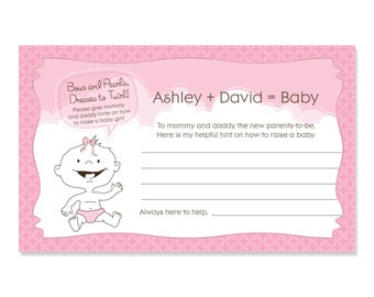 Girl Baby Shower Advice Cards - 18 Personalized Helpful Hints Cards