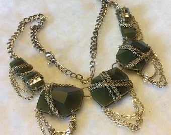 Vintage 1980's olive green cabochons   Chatelaine chains bib necklace