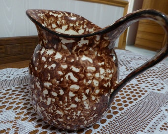 Vintage Stangl Town & Country Brown Spatter Spongeware Pitcher Circa Mid 1970's