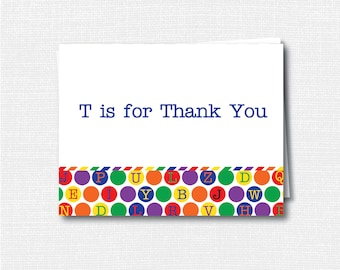 Alphabet Folded Thank You Note - Kid's Stationery - Alphabet Note - Folded Card - Thank You Note - INSTANT DOWNLOAD