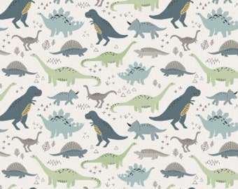FOSSIL RIM Fabric, Fossil Main in Cream, Riley Blake, Dinosaur Quilt, Fabric, Boys Quilt,  Cotton Fabric, Quilting, Fabric By the Yard