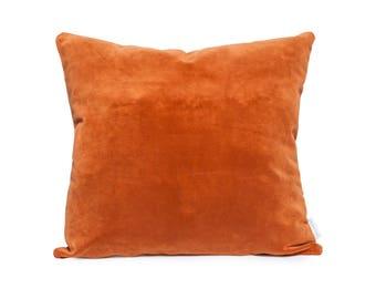 Copper velvet pillow, copper velvet cushion, copper pillow, rust velvet pillow, burnt orange pillow, rust pillow, burnt orange velvet pillow