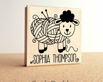 """Large 3x3"""" Personalized Knitting Rubber Stamp, Custom Handmade Knitting Label Stamp"""