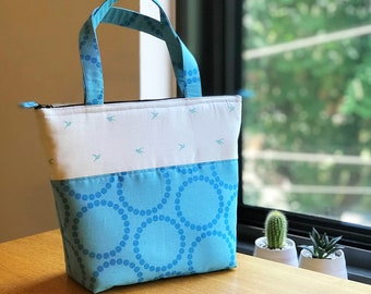 Insulated Lunch Bag/ Lunch Bag with Adjustable Bottle Holder/ Lunch Bag insulated/ Tote Bag for women/ Lunch bag for women/ Lunch tote