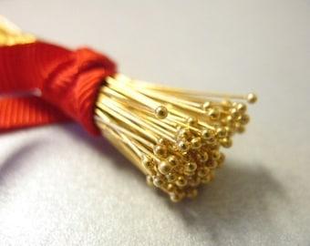 "24k Gold Vermeil Head Pins BALL Headpins, 26 ga g gauge, 100-500 pcs BULK, 25 mm, 1"" inch in, Bali artisan. VHP26.25"
