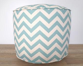Round chevron pouf for nursery decor, light blue and beige floor poof, geometric pouf ottoman dorm room, round floor pillow