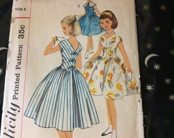 Vintage 1957 Simplicity pattern 2007 - girls one-piece dress, size 8- long torso dress- with points- gathered skirt and more.