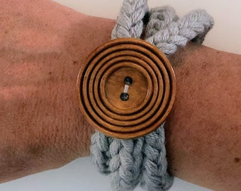Gray Knit Cord Bracelet