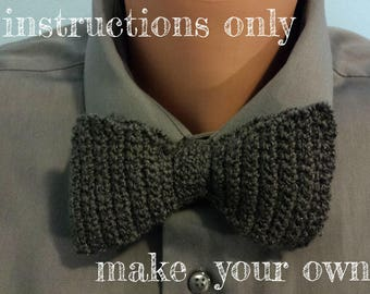 INSTRUCTIONS ONLY - Crochet your own Simple Full-Length Bow Tie Bowtie Mens and Womens Pattern Download