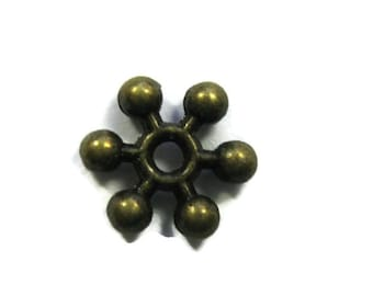 Snowflake Spacer Beads Antiqued Bronze Toned Brass Plated 8.5 mm