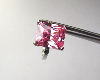 CLEARANCE Impressive Pink CZ Octagon Princess in Sterling Silver Ring