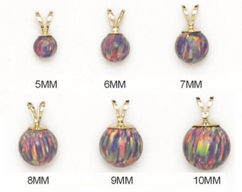 14K Pure Solid Yellow Gold Pendant With PURPLE\MULTI COLOR Synthetic Opal . 5mm. 6mm. 7mm. 8mm. 9mm. 10mm. . Gifts. RP155P219