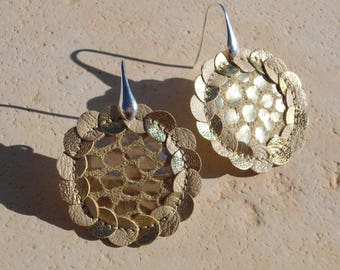 Leather stitched earrings : BOHEME