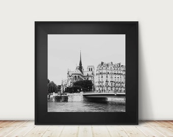 Paris photography, Notre Dame, black and white photography, large wall art, fine art photography, Paris in black and white