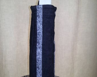 Square black denim wine bag