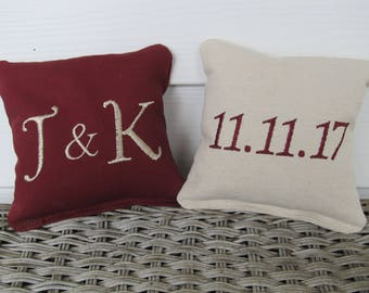 Personalized Wedding Cornhole Game Bags - Couple's Initials & Wedding Date - Set of 8 Shown in Burgundy and Ivory - Great Gift!!