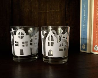 Pair of Tealight Holders Candle Jars Papercut Silhouette Votive