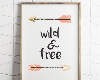 wild and free kids decor, tribal wall decor, printable kids wall decor, wild and free print, kids printable tribal art