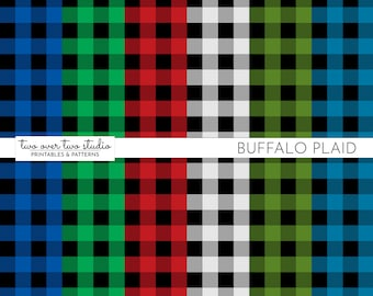 Buffalo Plaid Digital Paper/ Buffalo Check / Commercial Use / Red, Green, and Blue for Winter Rustic Backgrounds and Scrapbooks