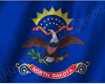 North Dakota State Flag on a Metal Sign