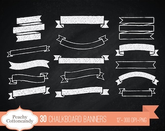 BUY 2 GET 1 FREE 30 Digital Chalkboard Banners - chalk board ribbon banner clip art - chalkboard ribbons clipart - Commercial Use Ok