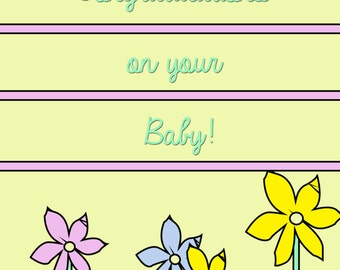 New Baby Congratulations card serial killers flowers