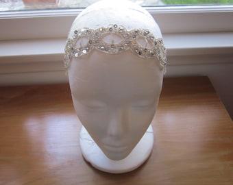 Silver stretch headband, elastic 1920s headband, gatsby fascinator 1920s seqiuns Headband Great Gatsby Headband Roaring 20s Headpiece