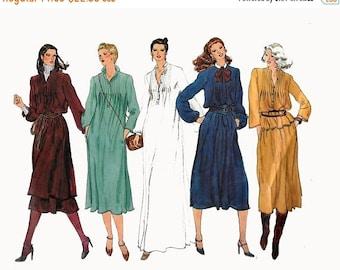ON SALE Vintage 1980s Caftan Dirndl Dress Peasant or Poet's Blouse Pintucks Sewing Pattern Vogue Basic Design 2031 80s Disco Era Size 16 Bus