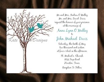 Tree Bird Wedding Invitation & RSVP - Tree Wedding Invitations -  Tree Bird Wedding Invitation - Tree Design 46
