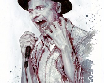 Giclee Reproduction: Painting with wine of Gord Downie, The Tragically Hip