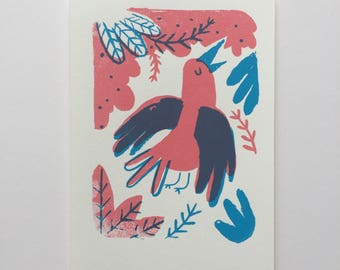 Two Colour Tropical Flying Bird Screenprint
