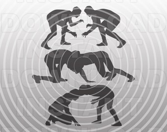 Wrestling Poses SVG File,Wrestler SVG,High School Sports svg -Vector Art Commercial & Personal Use- Cricut,Cameo,Silhouette,iron on vinyl